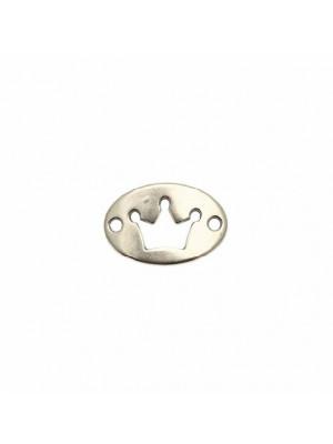 Elemento per bracciale a forma di medaglia ovale, leggermente ricurvo, con due fori ai lati, e foro con disegno corona, 13x20 mm