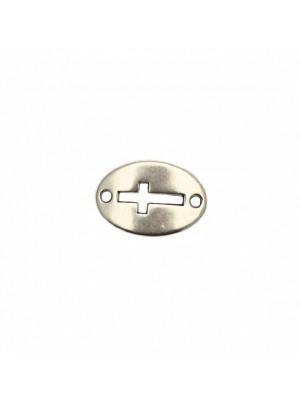 Elemento per bracciale a forma di medaglia ovale, leggermente ricurvo, con due fori ai lati, e foro con disegno croce, 13x20 mm.