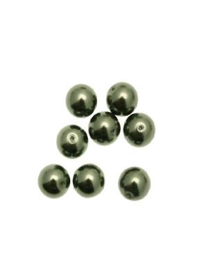 Perla in vetro effetto perlato 10 mm. color Verde salvia scuro