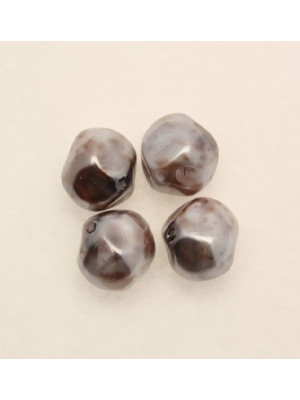 Perla in vetro effetto perlato MACCHIATE, barocca tonda, color Grigio e marrone