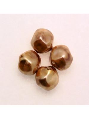 Perla in vetro effetto perlato MACCHIATE, barocca tonda, color Gold con marrone chiaro