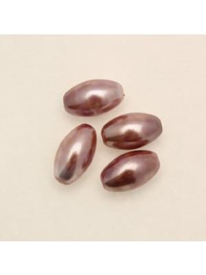 Perla in vetro effetto perlato MACCHIATE, oliva liscia 14x8 mm., color Rosa antico e rosa antico scuro