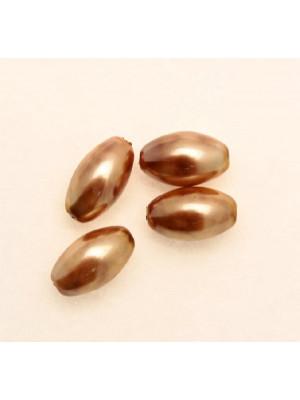 Perla in vetro effetto perlato MACCHIATE, oliva liscia 14x8 mm., color Gold con marrone chiaro