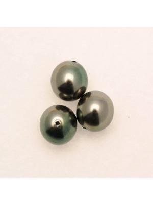 Perla in vetro effetto perlato SFUMATE PERLATE, tondo, color Verde\Bronzo
