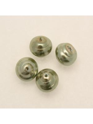 Perla in vetro effetto perlato serie pregiata, conchiglia, color Verdino chiaro