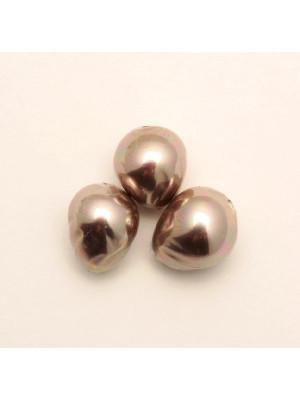 Perla in vetro effetto perlato serie pregiata, goccia barocca, color Tortora rosato