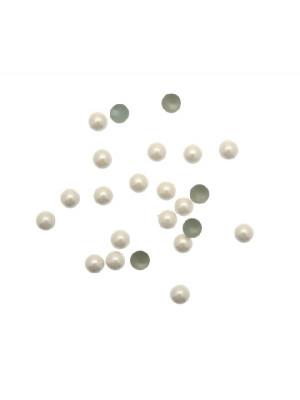 Borchia termoadesiva o da incollo, tonda, 4 mm., colore AVORIO PERLATO