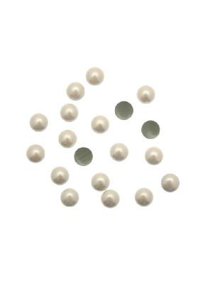 Borchia termoadesiva o da incollo, tonda, 6 mm., colore AVORIO PERLATO