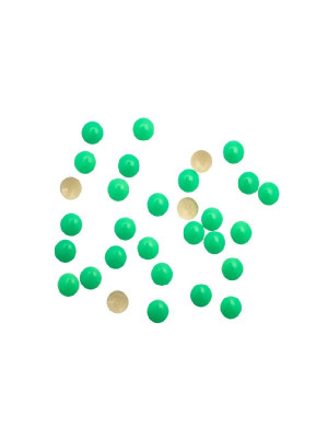Confezione da 10 pezzi della borchia termoadesiva o da incollo, tonda, 8 mm., colore Verde fluo