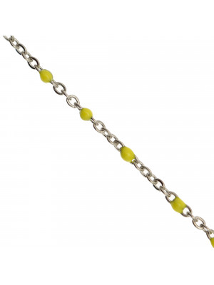 Catena ovalina, in Acciaio, con palline smaltate, base in metallo colore Argentato Rodio, colore smalto Giallo