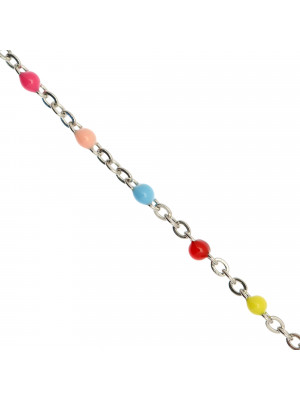 Catena ovalina, in Acciaio, con palline smaltate, base in metallo colore Argentato Rodio, colore smalto Multicolor