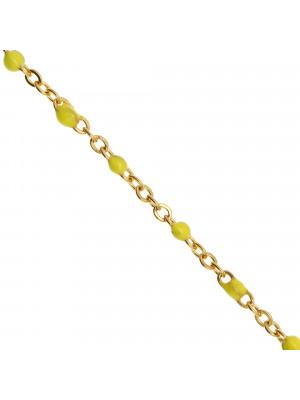 Catena ovalina, in Acciaio, con palline smaltate, base in metallo colore Oro Lucido, colore smalto Giallo