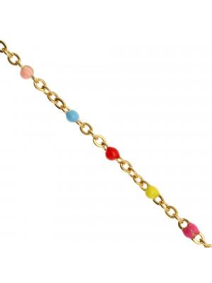 Catena ovalina, in Acciaio, con palline smaltate, base in metallo colore Oro Lucido, colore smalto Multicolor