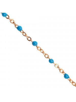 Catena ovalina, in Acciaio, con palline smaltate, base in metallo colore Oro Rosa, colore smalto Azzurro Scuro