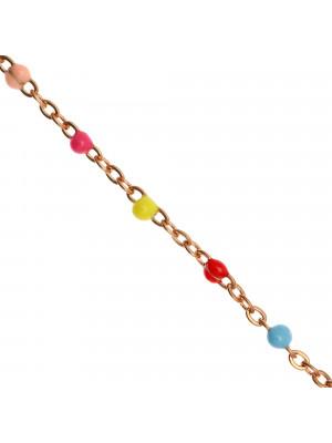 Catena ovalina, in Acciaio, con palline smaltate, base in metallo colore Oro Rosa, colore smalto Multicolor