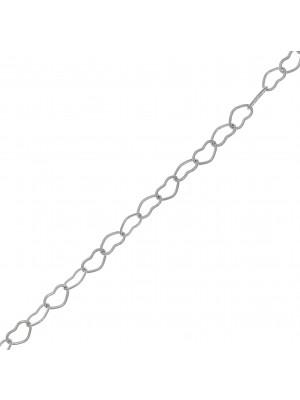 Catena composta da cuori concatenati, misura 5x3 mm., in Acciaio