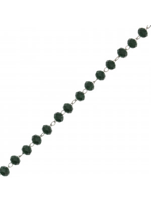 Catena a rosario, in acciaio, con rondelle Verde Scuro, base Argento Rodio