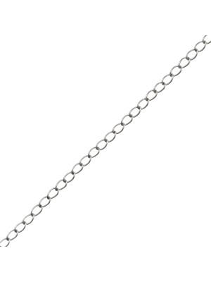 Catena grumetta sottile, in acciaio, diametro dell'anello 1,6x2,9 mm.