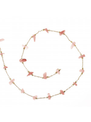 Catena ovalina, in Acciaio, con chips in pietra dura, colore base Oro Lucido, colore chips Rosa Corallo-Grigio