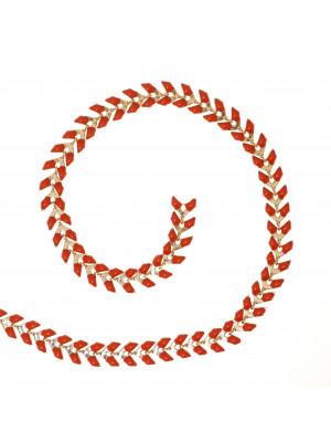 Catena a spina di pesce, in Acciaio, con punte smaltate, 6x2,3 mm., colore base Oro Lucido, colore smalto Rosso