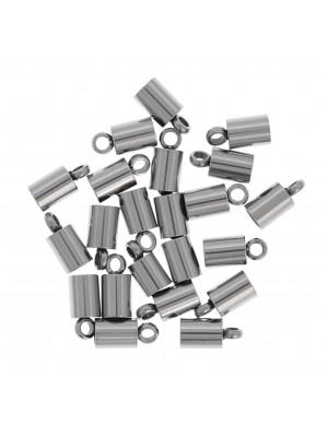 Terminale a tubo da incollo per cordoncino, 8x4 mm., in Acciaio