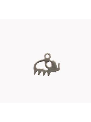 Ciondolo, in Acciaio, a forma di elefante stilizzato piatto, 12x10 mm.