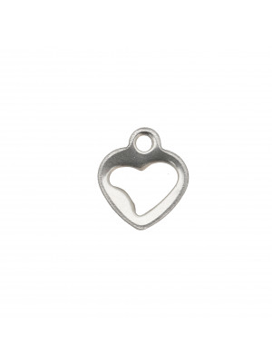Ciondolo, in Acciaio, a forma di cuore piatto, forato, 10x11 mm.