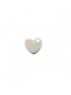 Ciondolo, in Acciaio, a forma di cuore piatto, pieno, liscio,10x9 mm.