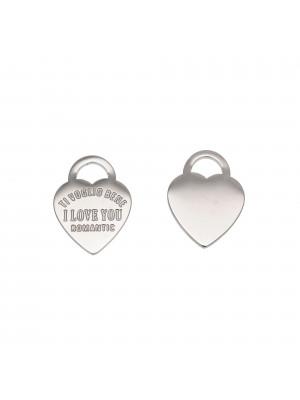 Ciondolo, in Acciaio, a forma di cuore Tiffany con scritte romantiche, 14x13 mm.