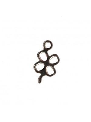 Ciondolo, in Acciaio, a forma di quadrifoglio, 6x12 mm.
