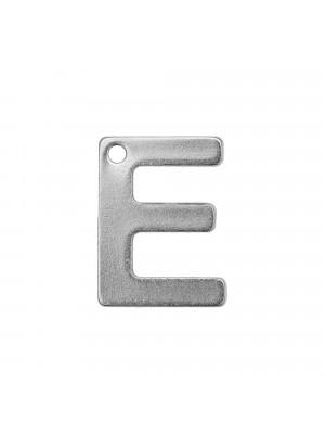 """Ciondolo a forma di lettera """"E"""", 11x8 mm., in Acciaio"""