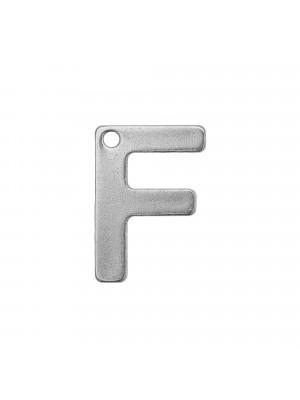 """Ciondolo a forma di lettera """"F"""", 11x8 mm., in Acciaio"""