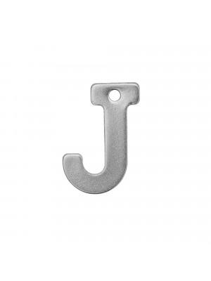 """Ciondolo a forma di lettera """"J"""", 11x8 mm., in Acciaio"""