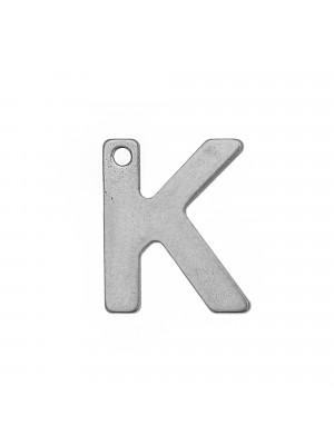 """Ciondolo a forma di lettera """"K"""", 11x9 mm., in Acciaio"""