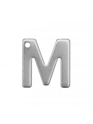 """Ciondolo a forma di lettera """"M"""", 11x10 mm., in Acciaio"""