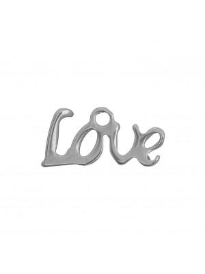 """Ciondolo, in Acciaio, con scritta """"Love"""", 12x6 mm., con un anellino tondo in alto"""