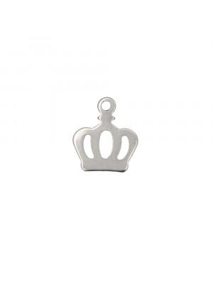 Ciondolo, in Acciaio, a forma di Corona, 6x8 mm.