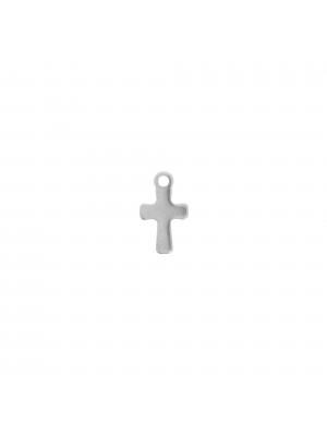 Ciondolo, in Acciaio, a forma di croce, 12x7 mm.
