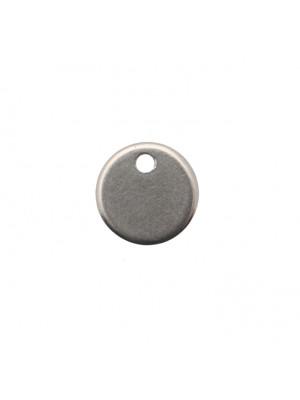 Ciondolo, in Acciaio, a forma di medaglia tonda, piatta, liscia, 8 mm.