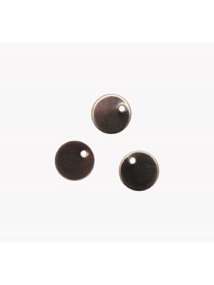 Ciondolo, in Acciaio, a forma di medaglia tonda, piatta, liscia, 10x10 mm.