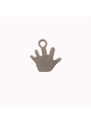Ciondolo, in Acciaio, a forma di mano piatta, liscia, 10x11 mm.
