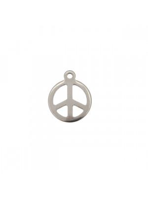 Ciondolo, in Acciaio, a forma di Simbolo della Pace,7x10 mm.