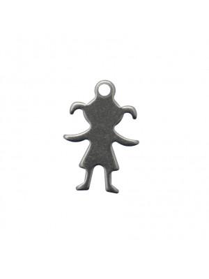 Ciondolo, in Acciaio, a forma di bambina stilizzata con codini e le braccia aperte, 11x16 mm.