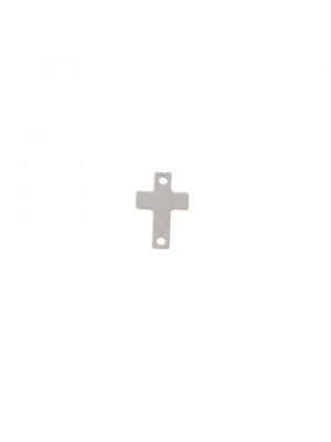 Elemento a doppio foro, in Acciaio, a forma di croce piatta, liscia, piena, 6x8mm.