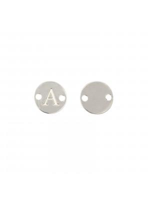 Elemento a doppio foro, in Acciaio, a forma di medaglia tonda con lettera A, 8 mm.