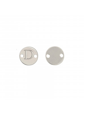 Elemento a doppio foro, in Acciaio, a forma di medaglia tonda con lettera D, 8 mm.