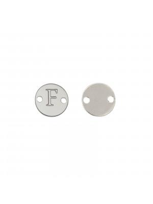 Elemento a doppio foro, in Acciaio, a forma di medaglia tonda con lettera F, 8 mm.