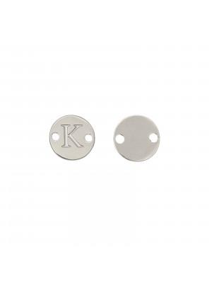 Elemento a doppio foro, in Acciaio, a forma di medaglia tonda con lettera K, 8 mm.