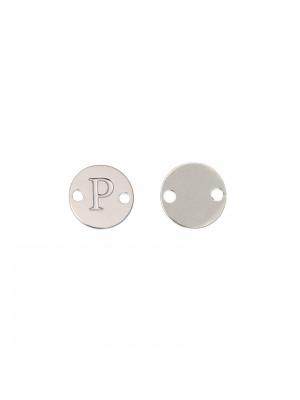 Elemento a doppio foro, in Acciaio, a forma di medaglia tonda con lettera P, 8 mm.