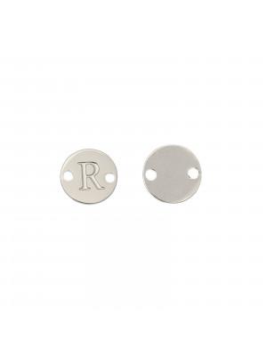 Elemento a doppio foro, in Acciaio, a forma di medaglia tonda con lettera R, 8 mm.